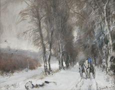 A snowy landscape by Louis Apol