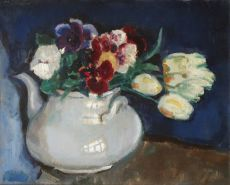 Stil life with flowers in a teapot