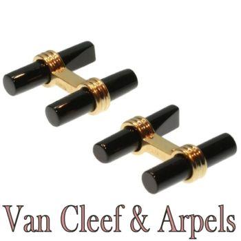 Van Cleef & Arpels Onyx Gold Cufflinks by Van Cleef & Arpels