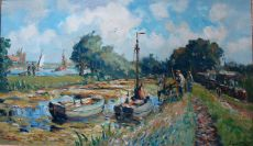 Bedrijvigheid aan het water by Evert Moll