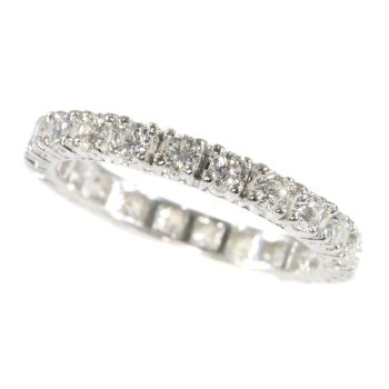 Vintage Seventies white gold fully diamond set wedding band by Unknown Artist