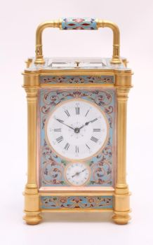 A French gilt cloisonné enamel carriage clock, circa 1870 by Unknown Artist