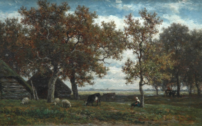Farmstead with shepherdess, cows and sheep by Willem Roelofs