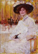 Lady in white in a fancy restaurant by Victor Guerrier