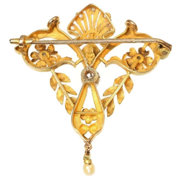 Late Victorian Belle Epoque gold diamond pendant brooch by Unknown