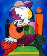 Seated woman with pearl necklace