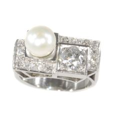 Vintage platinum diamond and pearl Art Deco ring by Unknown