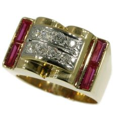 Ruby and diamonds gold retro ring by Unknown Artist